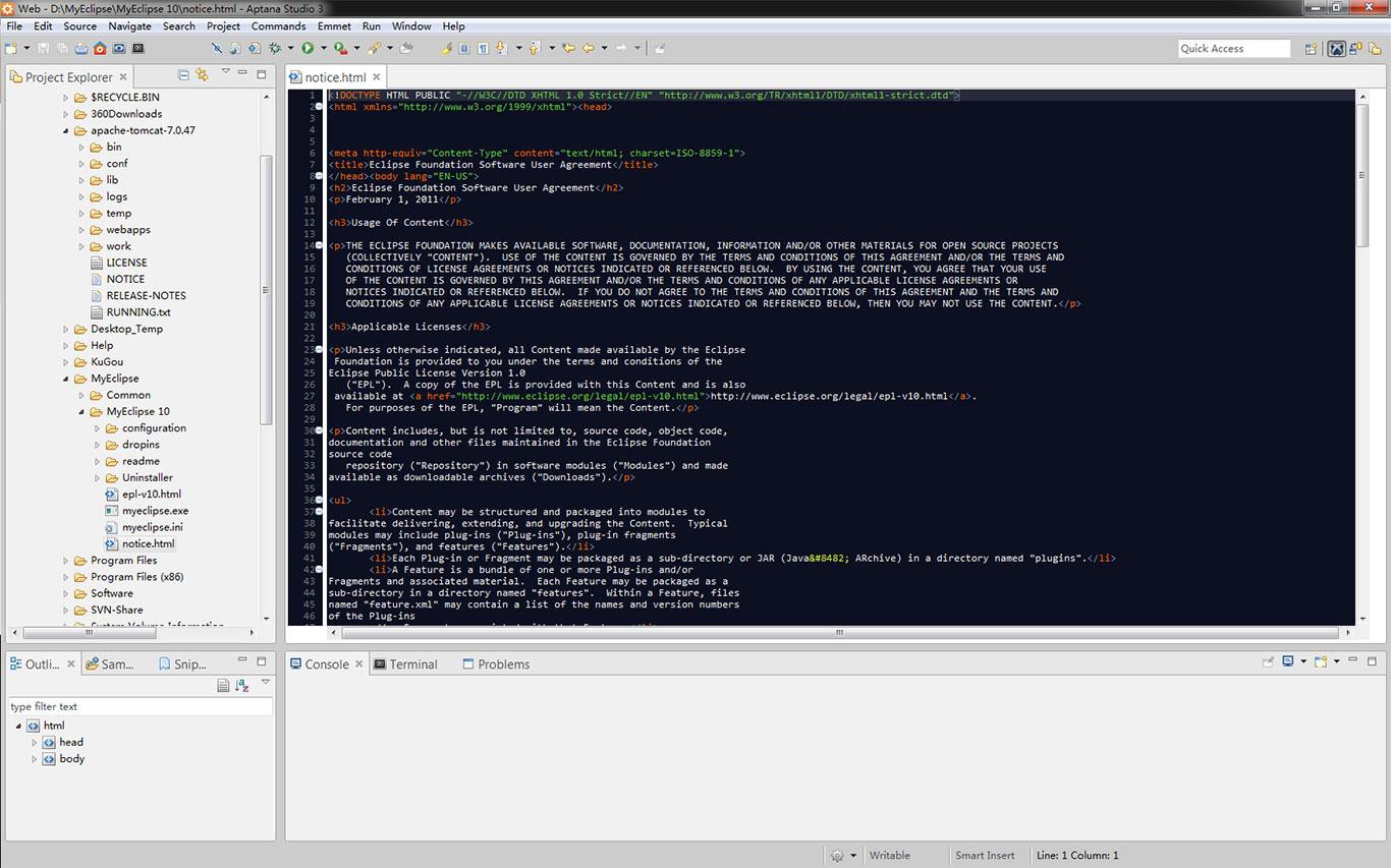 Aptana studio 3前端开发编辑器推荐